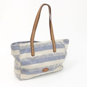 Fossil Blue Striped Tote Bag